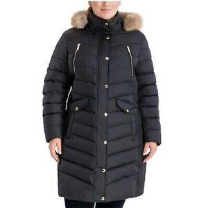 NWOT MICHAEL KORS Plus Size Faux-Fur-Trim Hooded Down Puffer Coat